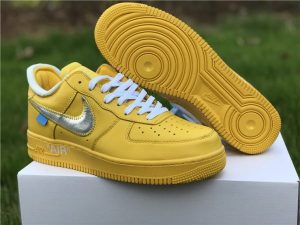 Nike Air Force 1 Low X Off-White Yellow Metalic Silver Shoes UK CI1173-700