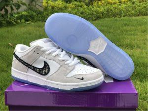 Dior x Nike SB Dunk Low Pro Wolf Grey White-Sail UK For Sale BQ6817-002