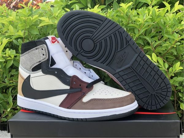 2021 New Air Jordan 1 High OG TS SP Black Wine Red Taupe Sale