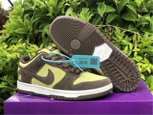 2021 Nike SB Dunk Low Pro Dark Brown Light Yellow Shoes BQ6817-700