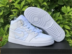 Air Jordan 1 Mid SE White Quilted Basketball Shoes UK DB6078-100