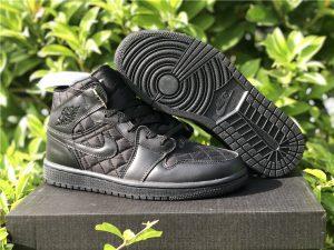 Air Jordan 1 Mid Triple Black Quilted UK Online Sale DB6078-001