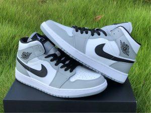 Light Smoke Grey Air Jordan 1 Mid Shoes UK Online Sale 554724-092