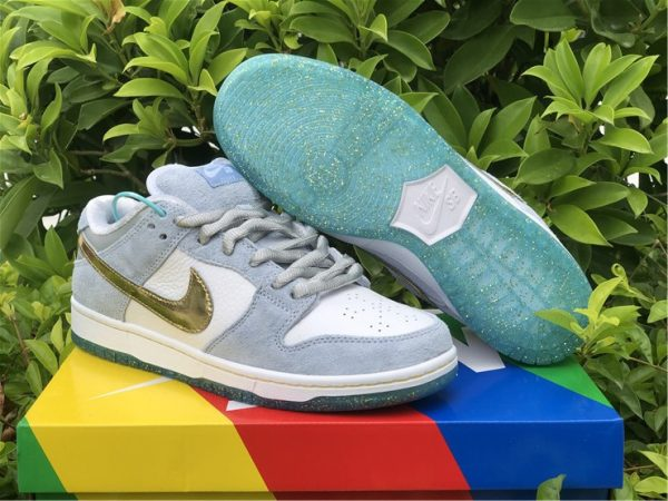 Sean Cliver x Nike SB Dunk Low White/Psychic Blue-Metallic Gold UK DC9936-100