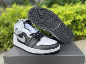 2021 Latest Air Jordan 1 Mid White Shadow Basketball Shoes 554724-073