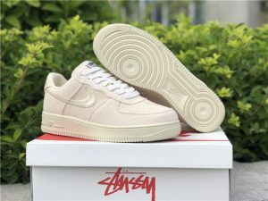 Nike Air Force 1 Low Stussy Beige White UK Online Sale CZ9087-200