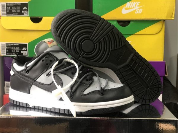 Off-White x Nike Dunk Low Grey Black Men and Womens Shoes CT0856-007