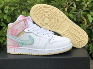 2021 Air Jordan 1 Mid Paint Drip UK For Girls DD1666-100