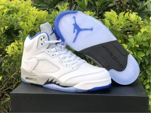 Air Jordan 5 Stealth 2.0 Hyper Royal White Mens Sneakers DD0587-140