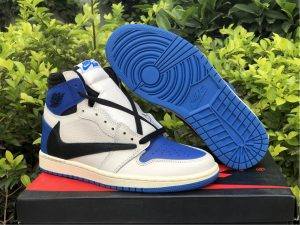 Travis Scott x Fragment x Air Jordan 1 Blue White UK Shoes