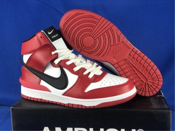 AMBUSH x Nike Dunk High Red Black White For Sale CU7544-400