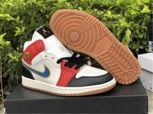 Cheap Air Jordan 1 Mid Sail Red Black Blue Gold Sport Shoes DC1426-100