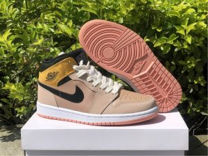2021 Girls Air Jordan 1 Mid SE Particle Beige Shoes DD2224-200