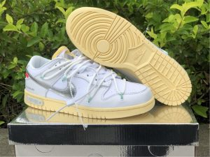 Buy Off-White x Nike Dunk Low White Silver Shoes DM1602-127