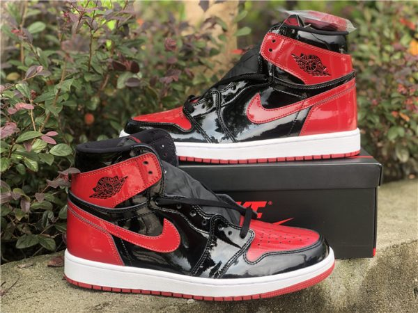 2021 Fashion Shoes Air Jordan 1 Retro High OG Bred Patent For Sale-4