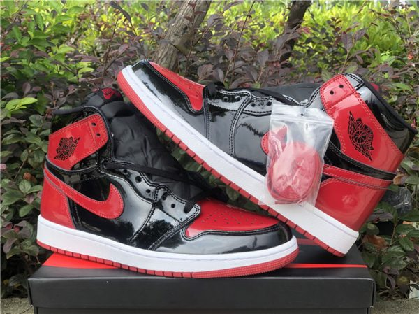 2021 Fashion Shoes Air Jordan 1 Retro High OG Bred Patent For Sale-7