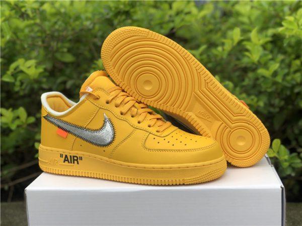 2021 Off-White x Nike Air Force 1 University Gold UK DD1876-700