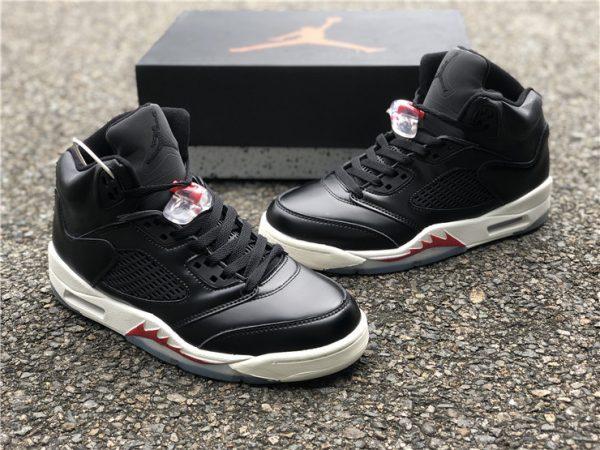 """Air Jordan 5 SP """"Black Muslin"""" Black White Red Online Sale-1"""
