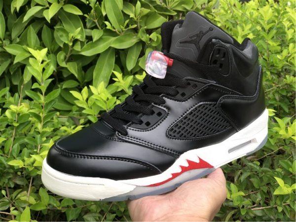 """Air Jordan 5 SP """"Black Muslin"""" Black White Red Online Sale-6"""