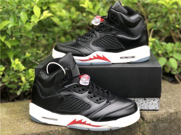 """Air Jordan 5 SP """"Black Muslin"""" Black White Red Online Sale-5"""