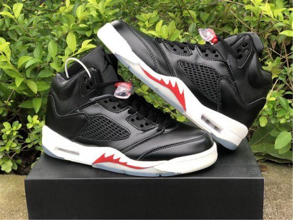 """Air Jordan 5 SP """"Black Muslin"""" Black White Red Online Sale-3"""