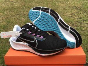 Nike Air Zoom Pegasus 38 Black/White-Chlorine Blue-Metallic Silver UK CW7356-003