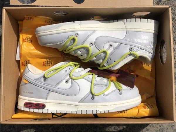 OFF-WHITE x Futura x Nike Dunk Low Grey White Yellow Shoes DM1602-106-1