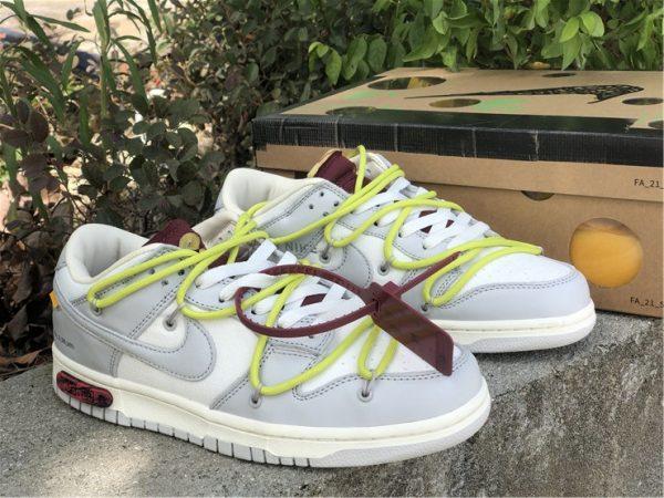 OFF-WHITE x Futura x Nike Dunk Low Grey White Yellow Shoes DM1602-106-2
