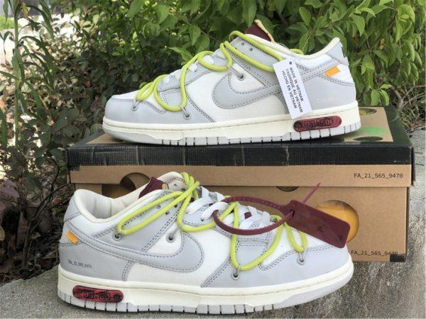 OFF-WHITE x Futura x Nike Dunk Low Grey White Yellow Shoes DM1602-106-3