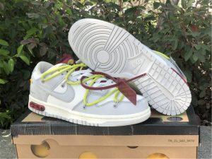OFF-WHITE x Futura x Nike Dunk Low Grey White Yellow Shoes DM1602-106