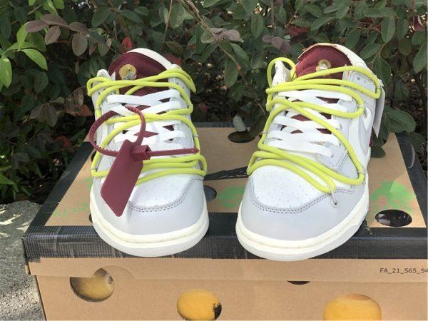 OFF-WHITE x Futura x Nike Dunk Low Grey White Yellow Shoes DM1602-106-5