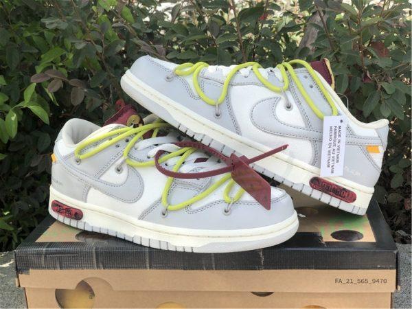 OFF-WHITE x Futura x Nike Dunk Low Grey White Yellow Shoes DM1602-106-6