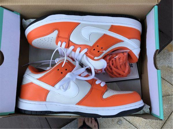 Nike SB Dunk Low Shoes White Orange Black In Box