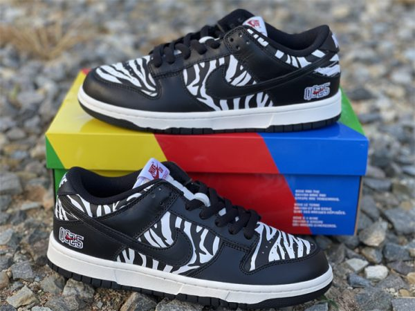 Quartersnacks x Nike SB Dunk Low Zebra Black White DM3510-001-2